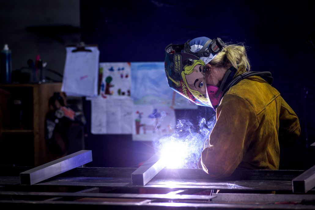 Crystine Czerwinski welding at IGN Systems in British Columbia